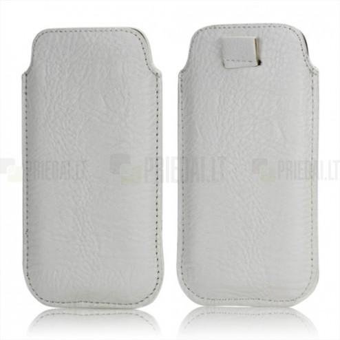 Balta ādas Apple iPhone 5 telefona ieliktņa