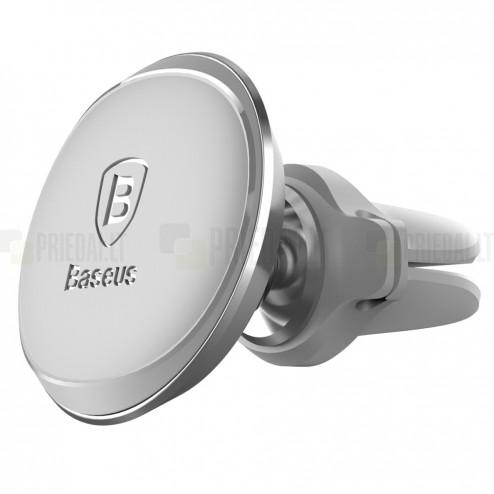 """""""Baseus"""" Magnet Mount (360°) sudrabs telefona autoturētājs (pie ventilācikas režģiem)"""