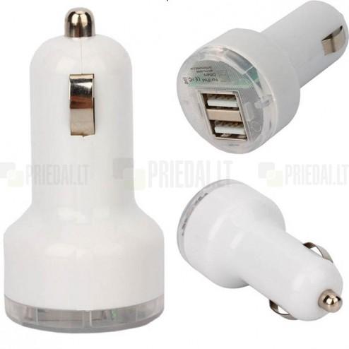 """""""Bottari"""" X-All balts autolādētājs ar divām USB ligzdām (2.1 Amp + 1 Amp)"""