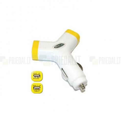 """""""Bottari"""" Y-Charge balts autolādētājs ar divām USB ligzdām (2.1 Amp + 1 Amp)"""
