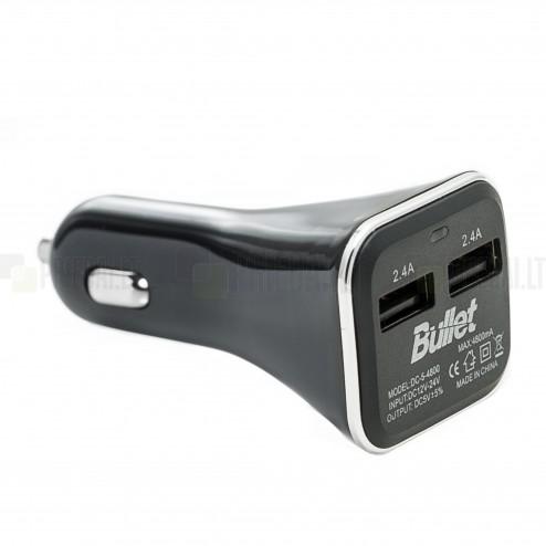"""""""Bullet"""" autolādētājs ar divām USB ligzdām (2.4 A / 2.4 A)"""
