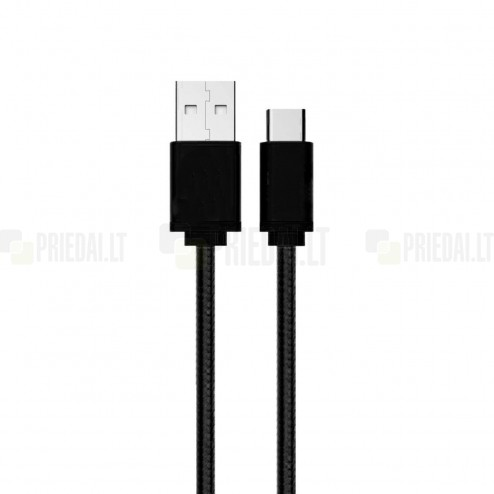 """Bullet"" Nylon micro USB melns vads 1 m"