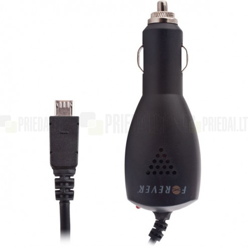 """""""Forever"""" autolādētājs (2,1 A) ar iebūvētu micro USB vadu"""