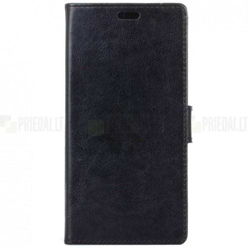 Samsung Galaxy Note 8 (N950F) atvēramais ādas melns maciņš (maks)
