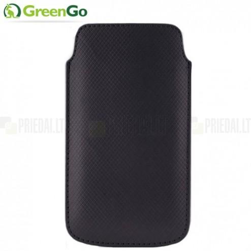 """""""GreenGo"""" Duo Card melna ieliktņa ādas - futrālis (L+ izmērs)"""