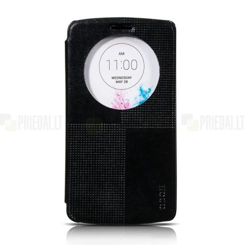Hoco Retro LG G3 atvēramais ādas melns maciņš