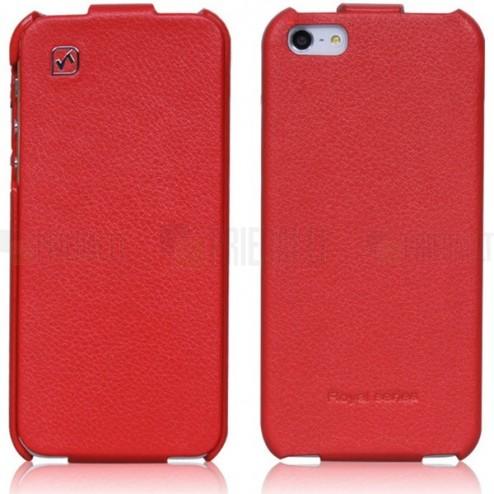 """Greznais """"HOCO"""" Duke sērijas ādas atvērams sarkans Apple iPhone 5S futrālis"""