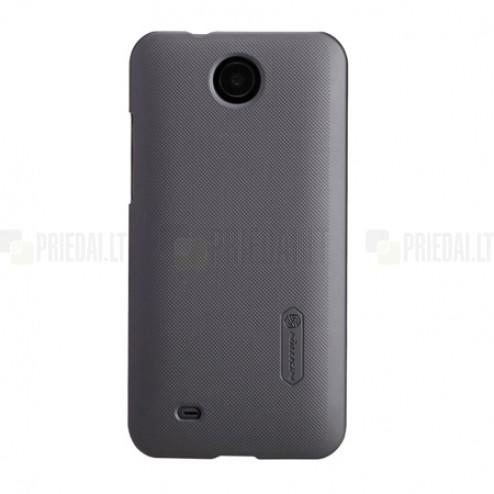 HTC Desire 300 Nillkin Frosted Shield melns plastmasas futrālis + ekrāna aizsargplēve