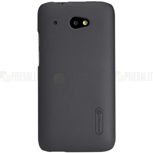 HTC Desire 601 Nillkin Frosted Shield melns plastmasas futrālis + ekrāna aizsargplēve