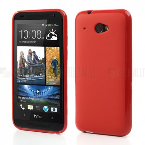 HTC Desire 601 Jelly Case sarkans cieta silikona (TPU) futrālis