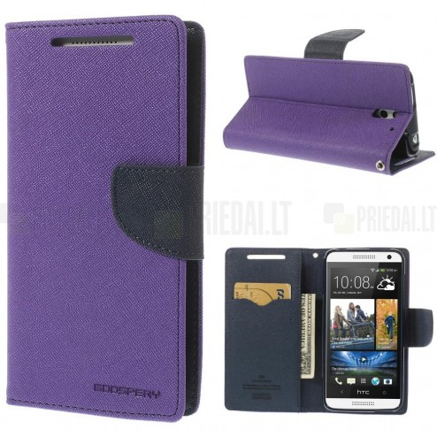 """Mercury"" Fancy HTC Desire 610 violeta ādas maciņš"
