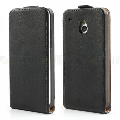 HTC One mini klasisks ādas vertikāli atvēramais melns futrālis