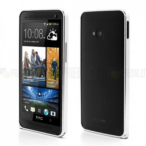 """Love Mei"" HTC One M7 sudraba rāmis (Bamperis)"