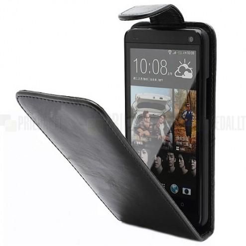 HTC One X klasisks ādas vertikāli atvēramais melns maciņš