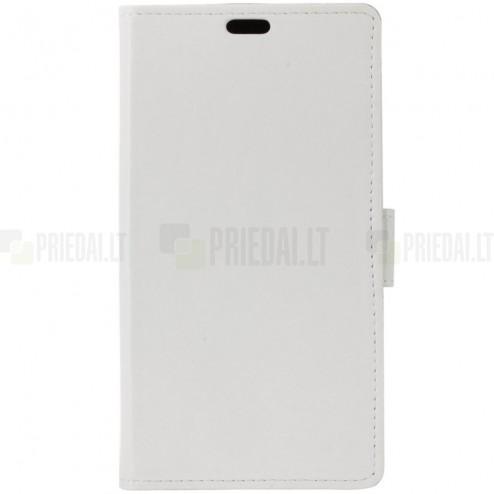 HTC U11 (U11 Dual) atvēramais ādas balts maciņš (maks)