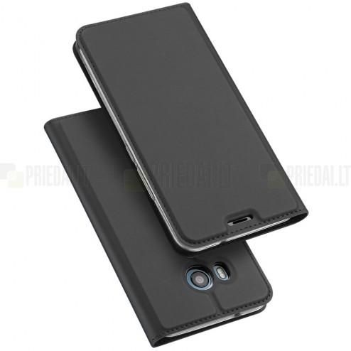 """HTC U11 (U11 Dual) """"Dux Ducis"""" Skin sērijas melns ādas atvērams maciņš"""
