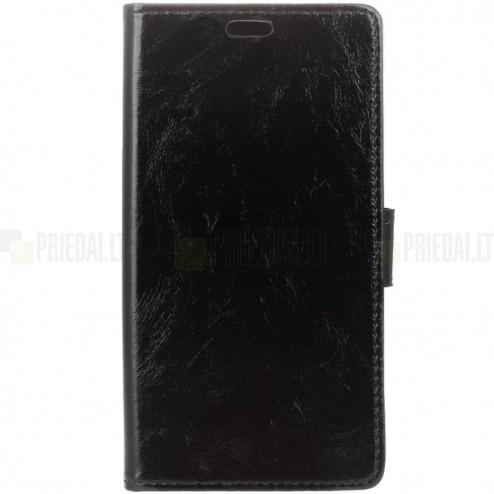 HTC U11 (U11 Dual) atvēramais ādas melns maciņš (maks)