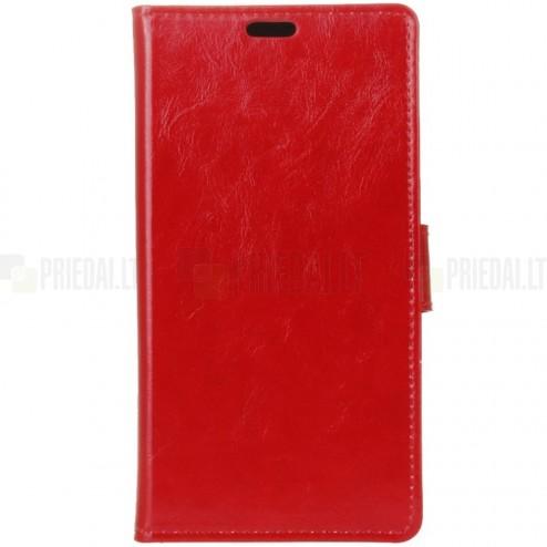 HTC U11 (U11 Dual) atvēramais ādas sarkans maciņš (maks)
