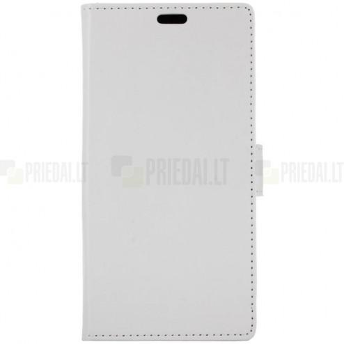 HTC U12 Plus atvēramais ādas balts maciņš (maks)