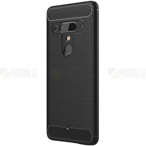"HTC U12 Plus ""Carbon"" cieta silikona (TPU) melns apvalks"