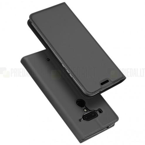 """HTC U12 Plus """"Dux Ducis"""" Skin sērijas melns ādas atvērams maciņš"""