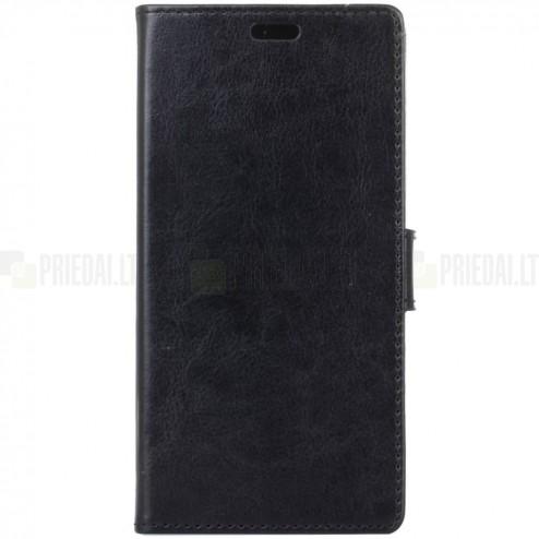 HTC U12 Plus atvēramais ādas melns maciņš (maks)