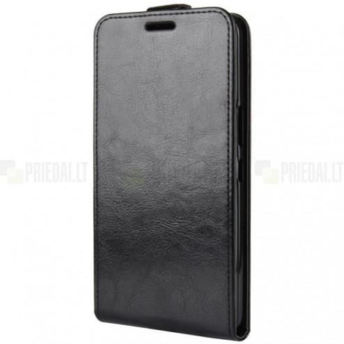 HTC U12 Plus klasisks ādas vertikāli atvēramais melns maciņš