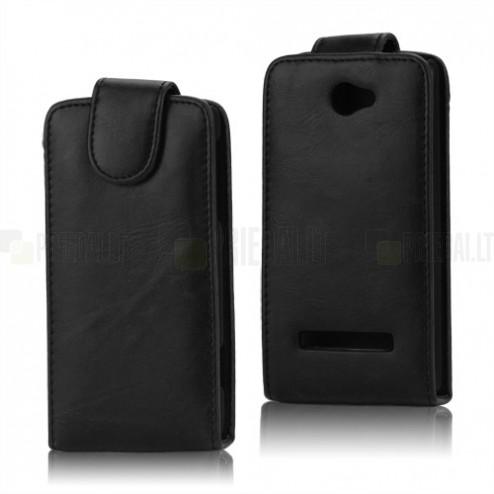 HTC Windows Phone 8S klasisks ādas vertikāli atvēramais melns maciņš