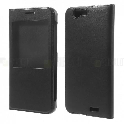 """Huawei Ascend G7 melns atvēramais """"Smart Window"""" ādas maciņš"""