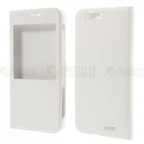 """Huawei Ascend G7 balts atvēramais """"Smart Window"""" ādas maciņš"""