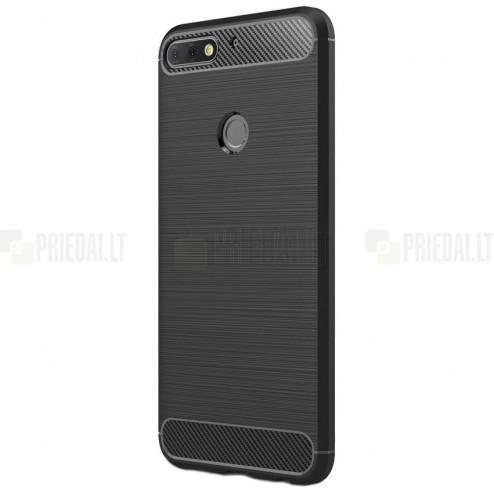 "Huawei Honor 7C ""Carbon"" cieta silikona (TPU) melns apvalks"