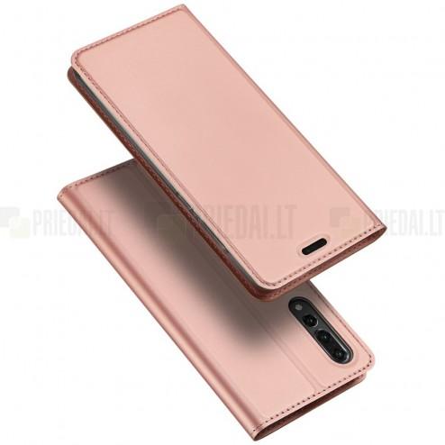 """Huawei P20 Pro """"Dux Ducis"""" Skin sērijas rozs ādas atvērams maciņš"""