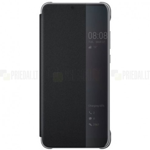 Oficiāls Huawei P20 Pro Smart View Flip Cover melns atvērams maciņš (maks)