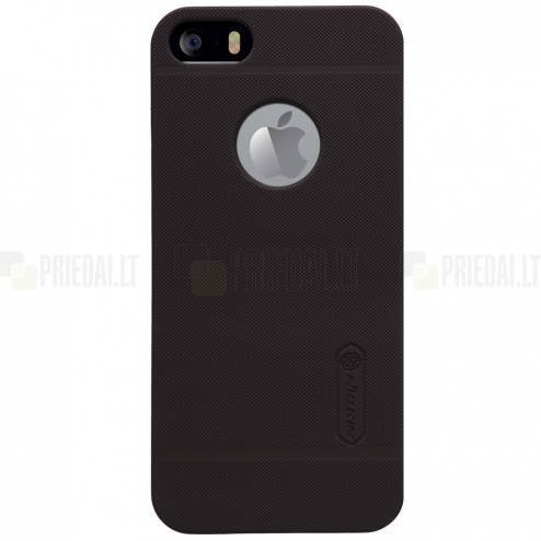 Apple iPhone 5S Nillkin Frosted Shield brūns plastmasas futrālis + ekrāna aizsargplēve