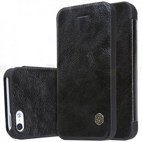 """Greznais """"Nillkin"""" Qin sērijas ādas atvērams melns Apple iPhone 5 (5s, SE) maciņš"""