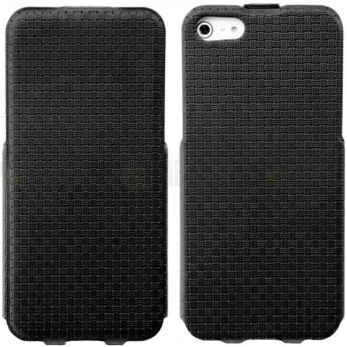 """Apple iPhone 5s """"Banpa"""" Woven vertikāli atvērams ādas melns maciņš"""
