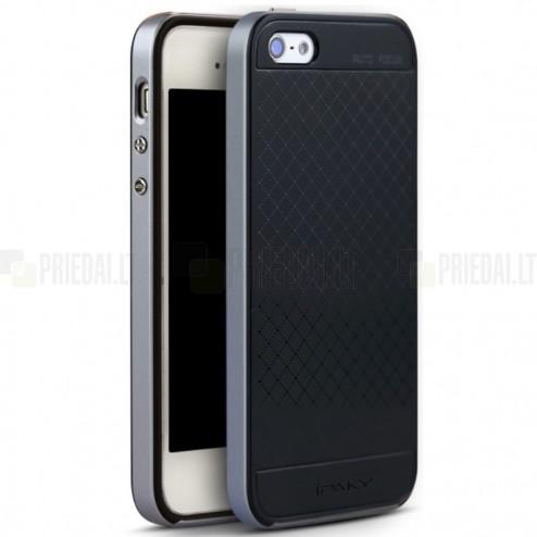 """Apple iPhone SE, Apple iPhone 5 ir Apple iPhone 5S """"IPAKY"""" cieta silikona (TPU) melns apvalks (apmales - pelēkā krāsā)"""