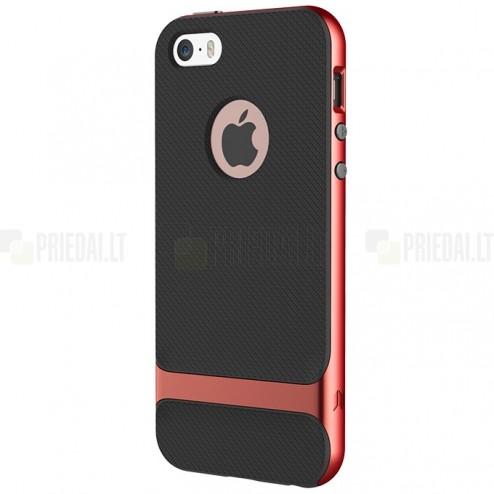 """""""Rock"""" Royce sustip""""Rock"""" Royce pastiprinātas aizsardzības melns Apple iPhone 5 (5s, SE) apvalksrintos apsaugos Apple iPhone 5 (5s,SE) juodas kieto silikono (TPU) ir plastiko dėklas"""