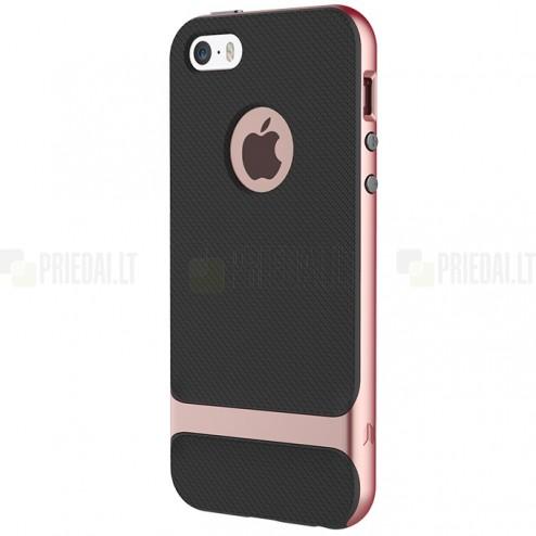 """""""Rock"""" Royce pastiprinātas aizsardzības melns rozā krāsā Apple iPhone 5 (5s, SE) apvalks"""
