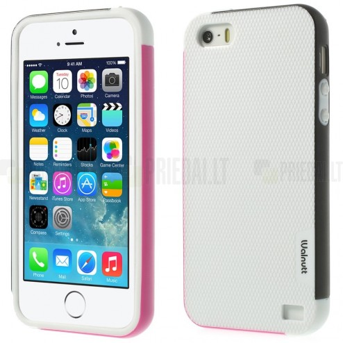 "Apple iPhone 5 (5s, SE) ""Walnutt"" cieta silikona balts apvalks apmales melnā krāsā"