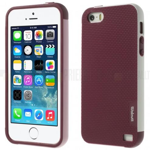 "Apple iPhone 5 (5s, SE) ""Walnutt"" cieta silikona bordo apvalks apmales baltā krāsā"