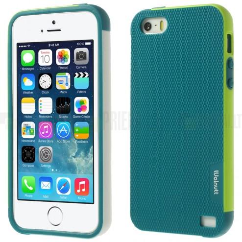 "Apple iPhone 5 (5s, SE) ""Walnutt"" cieta silikona tumši zaļš apvalks apmales gaiši zaļā krāsā"