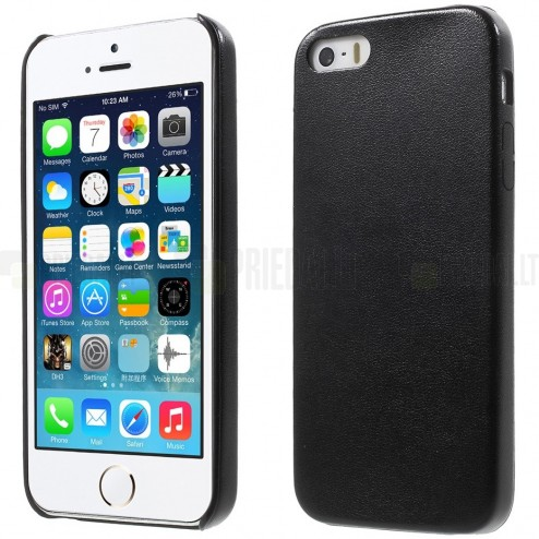 "Apple iPhone 5s ""Slim Leather"" melns ādas apvalks"