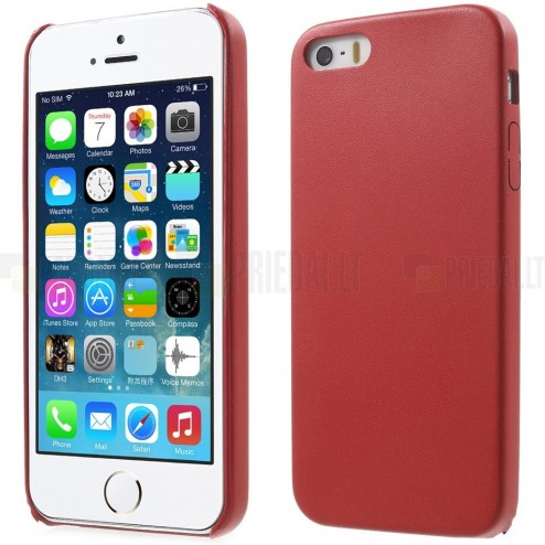 Apple iPhone SE (5, 5s) Slim Leather sarkans ādas itin plāns apvalks