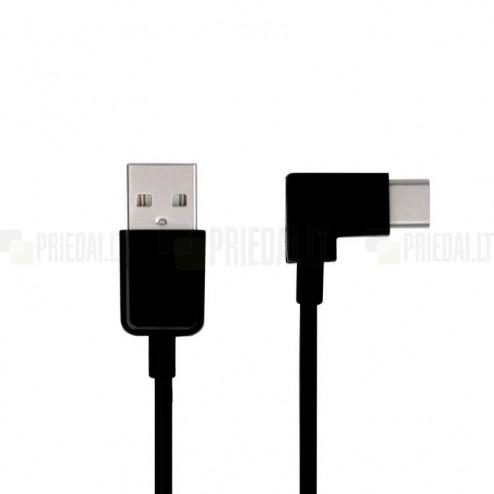 Leņķa USB Type-C melns vads 3 metri