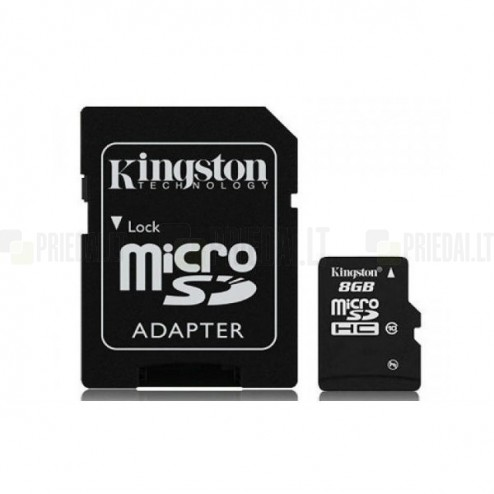 """Kingston"" MicroSD atmiņas karte 8 Gb, 10 klase ar SD adapteri"