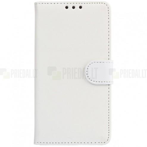LG G4 (H815) atvēramais ādas balts maciņš (maks)