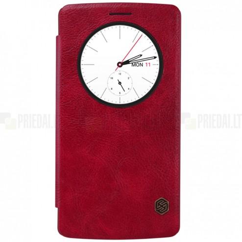 """Greznais """"Nillkin"""" Qin sērijas ādas atvērams sarkans LG G4 (H815) maciņš"""