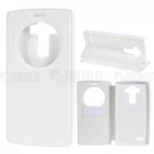 LG G4 (H815) Roar Noble ādas atvēramais balts maciņš