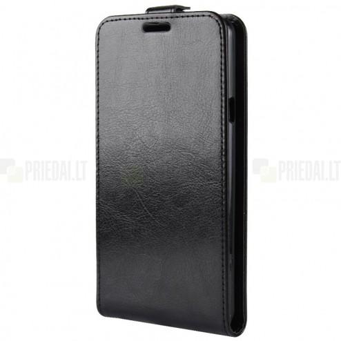 LG G7 ThinQ klasisks ādas vertikāli atvēramais melns maciņš